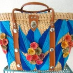60s Vintage Woven Straw Beach Tote Bag Mexican Blue Flowers… review at Kaboodle