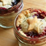 Tiny Cherry and Blueberry Star Pies in Jars.