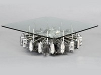Old Plane Engine Used as Coffee Table Base.