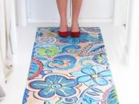 Painted wood floor.