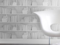 Mineheart White Bookshelf Wallpaper by Young & Battaglia.