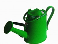 Green Felt Watering Pot Bag by krukru studio.
