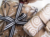 holiday wrapping with paper bags.